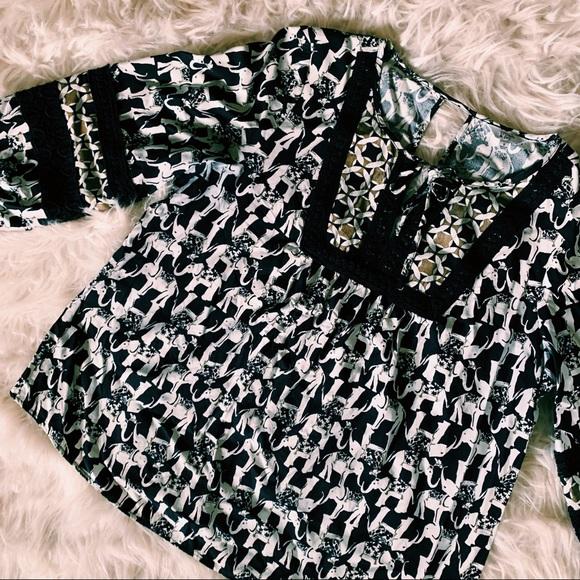 crown & ivy Tops - CROWN & IVY | Navy Blue elephant print blouse